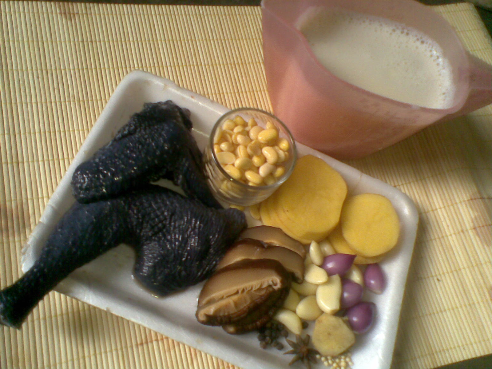Resep sup ayam hitam/kapas susu kedelai a.k.a silkie chicken with soya ...