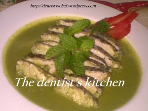fillet ikan kakap kari mint, barramundi with green mint curry