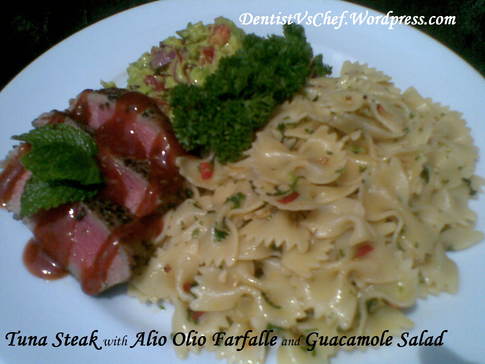 made the steak with sashimi grade tuna that marinade with