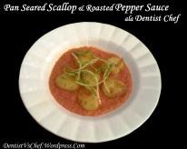 resep kerang scallop panggang Pan Seared Scallop with Roasted Pepper Sauce