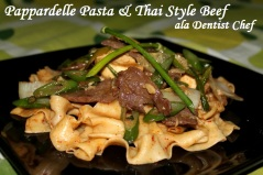Pappardelle pasta thai style beef
