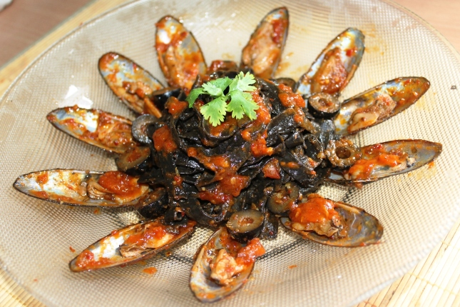 Black Pasta squid ink tomato sauce