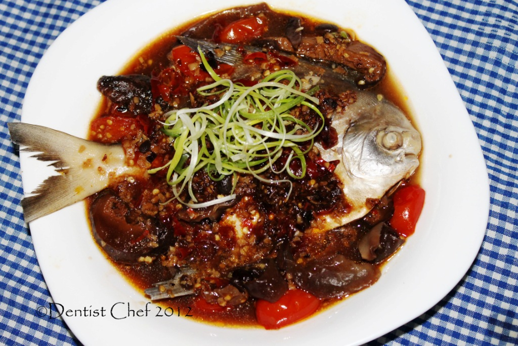 Steamed Pomfret with Black Bean Sauce (Ikan Bawal Tim Tausi) and 3 ...
