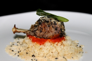 Lamb Chop Pan Grilled with tomato concase and buttered Couscous