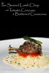 pan seared lamb chop tomato concase butteren couscous recipe