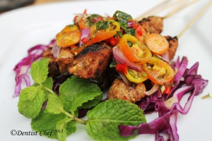 Chicken skewer kebab recipe spicy tomato salsa chilli sauce