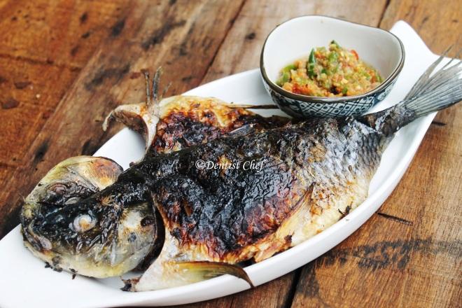 grilled carp ikan mas spicy sauce sambal rawit enak