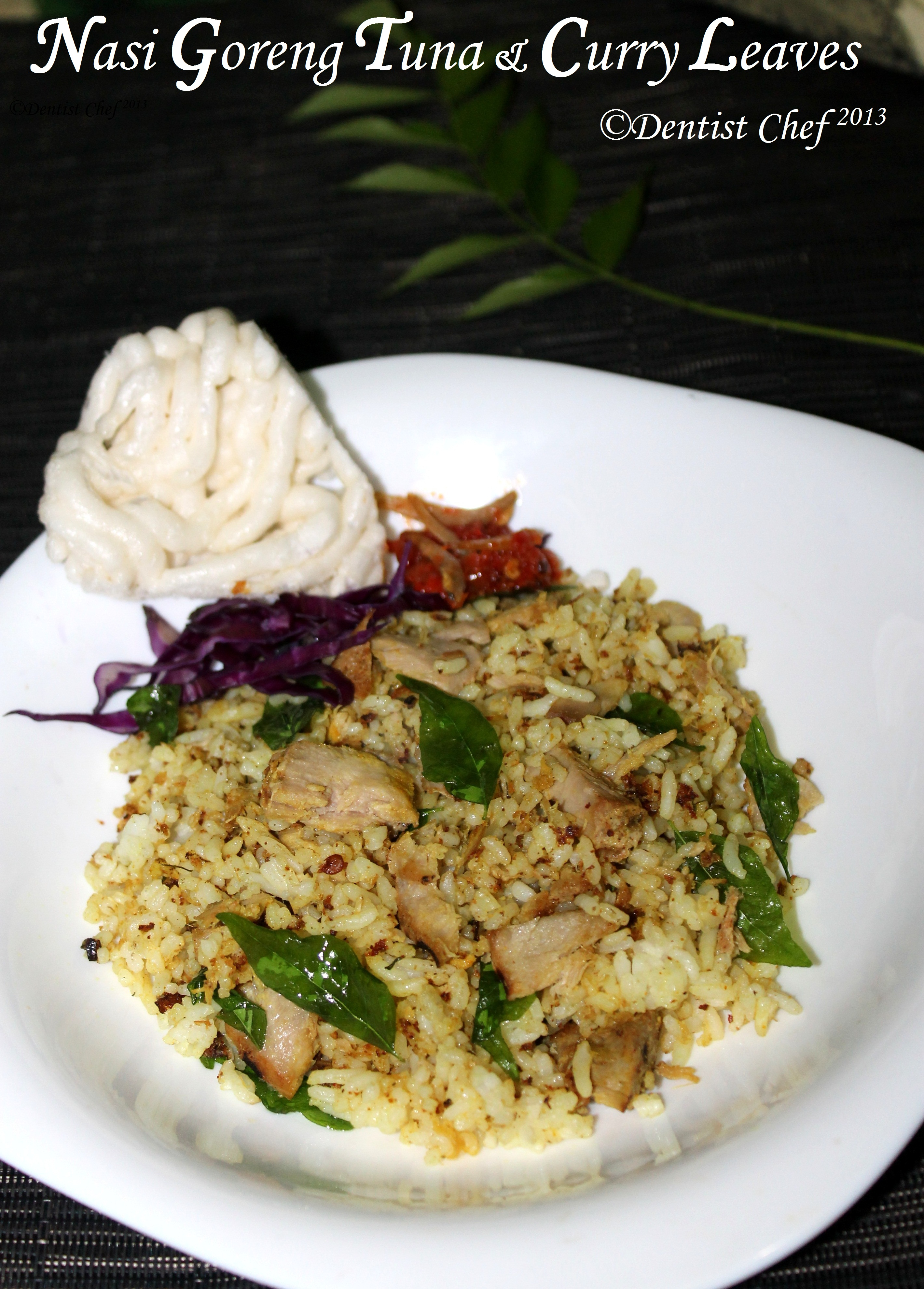 indonesian nasi goreng with tuna and curry leaves ala