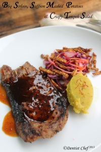 sirloin steak recipe how grill sirloin meat saffron mashed potato tempeh salad