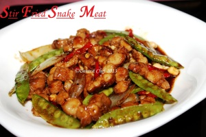 stir fried snake meat python chinese style