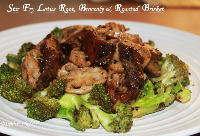 stir fry lotus root beef pork belly broccoly rosted leftover