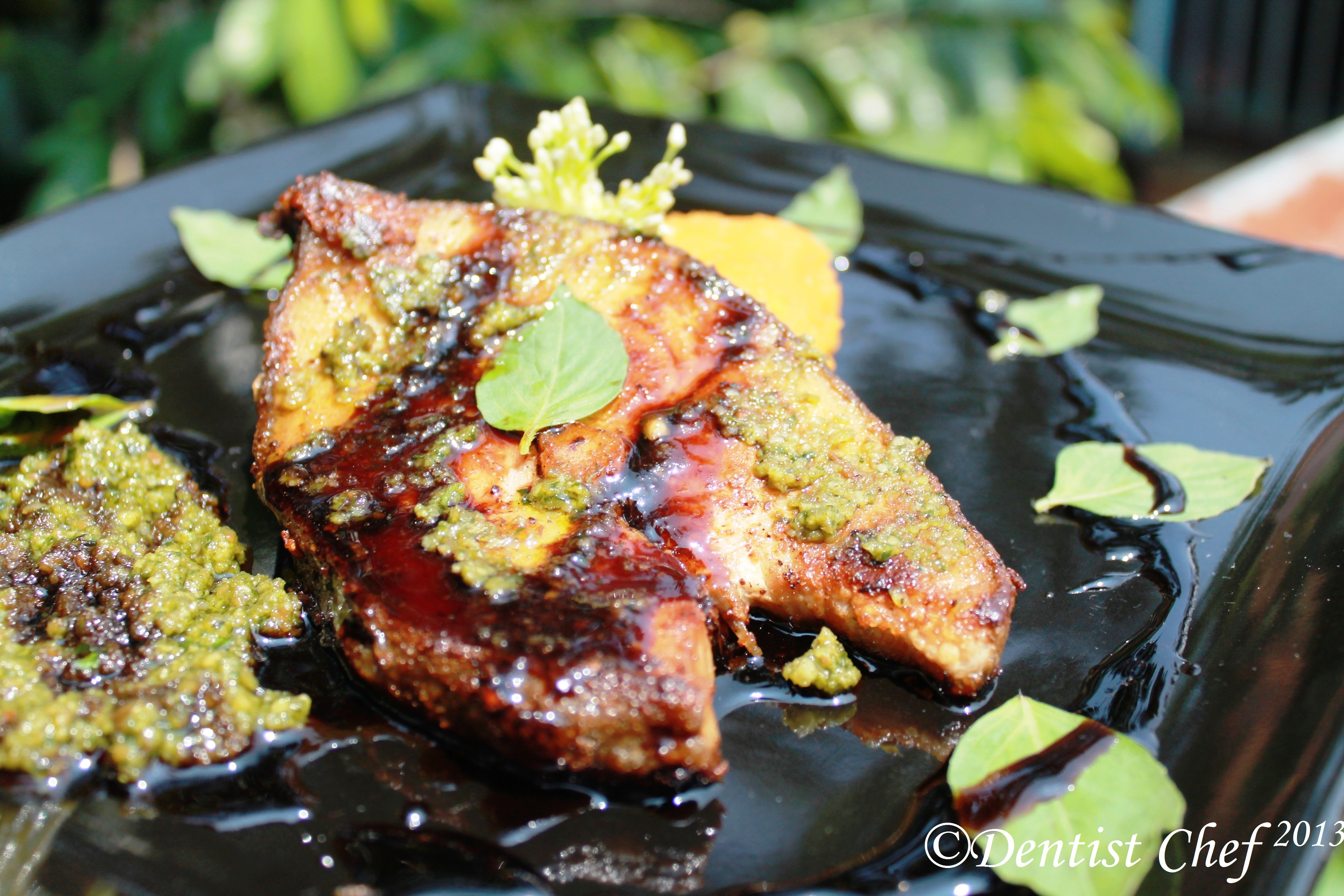 Pan fried fish with mashed sweet potato pesto sauce and for Fish steak recipe