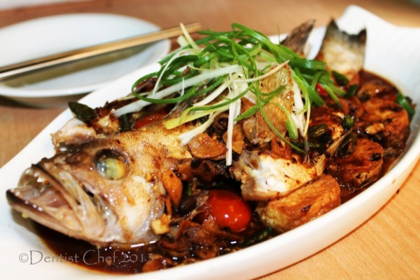 Steamed Live Grouper Fish with Black Bean Sauce Chinese Recipe