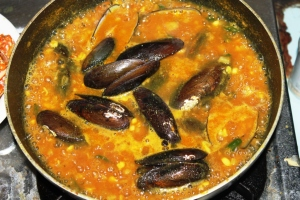 paella seafood mussle recipe make step by step picture