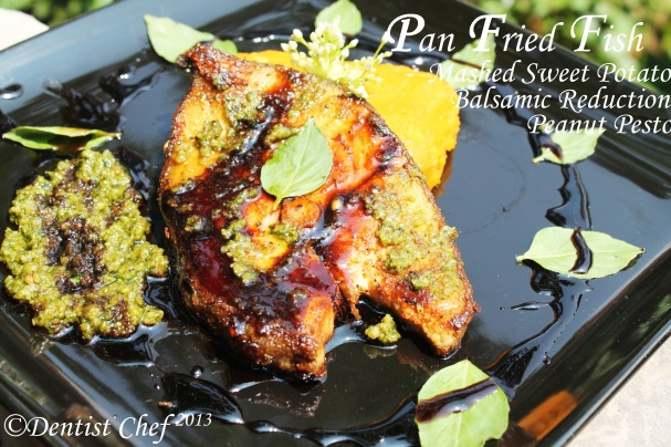 pan fried fish black cod recipe pesto balsamic reduction sweet potato mashed