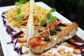 pan seared marlin tuna black garlic reduce balsamic vinegar