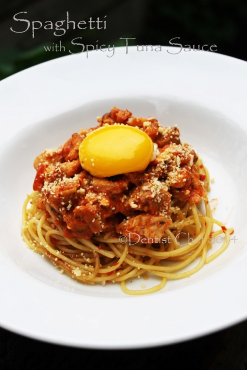 Resep Spaghetti with Spicy Tuna Sauce, Runny Egg Yolk & Parmaggiano ...