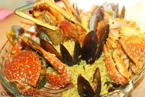 resep paella seafood rice saffron mussle prawn crab