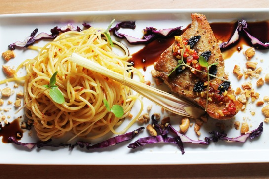 seared marlin tuna fish steak balsamic reduction lemongrass sauce