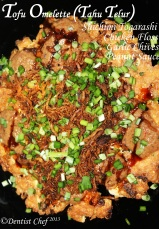 Resep tahu telur bumbu kacang abon ayam tofu omelette recipe