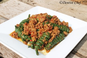 stir fry long bean ground meat pork chicken beef meat recipe chinese long bean