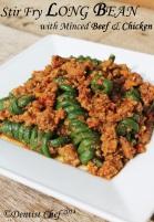 stir fry long bean minced meat chicken beef pork sauce