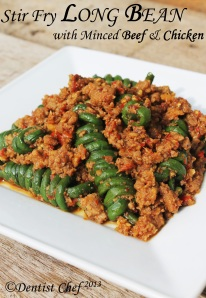 stir fry long bean minced meat chicken beef pork sauce