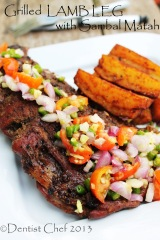 grilled lamb leg recipe with spicy sauce salsa balinese sambal matah