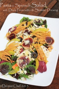 spinach pasta salad recipe duck prosciutto sumac dressing salad