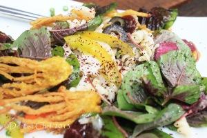 spinach sumac salad pasta fusilli salad duck prosciutto