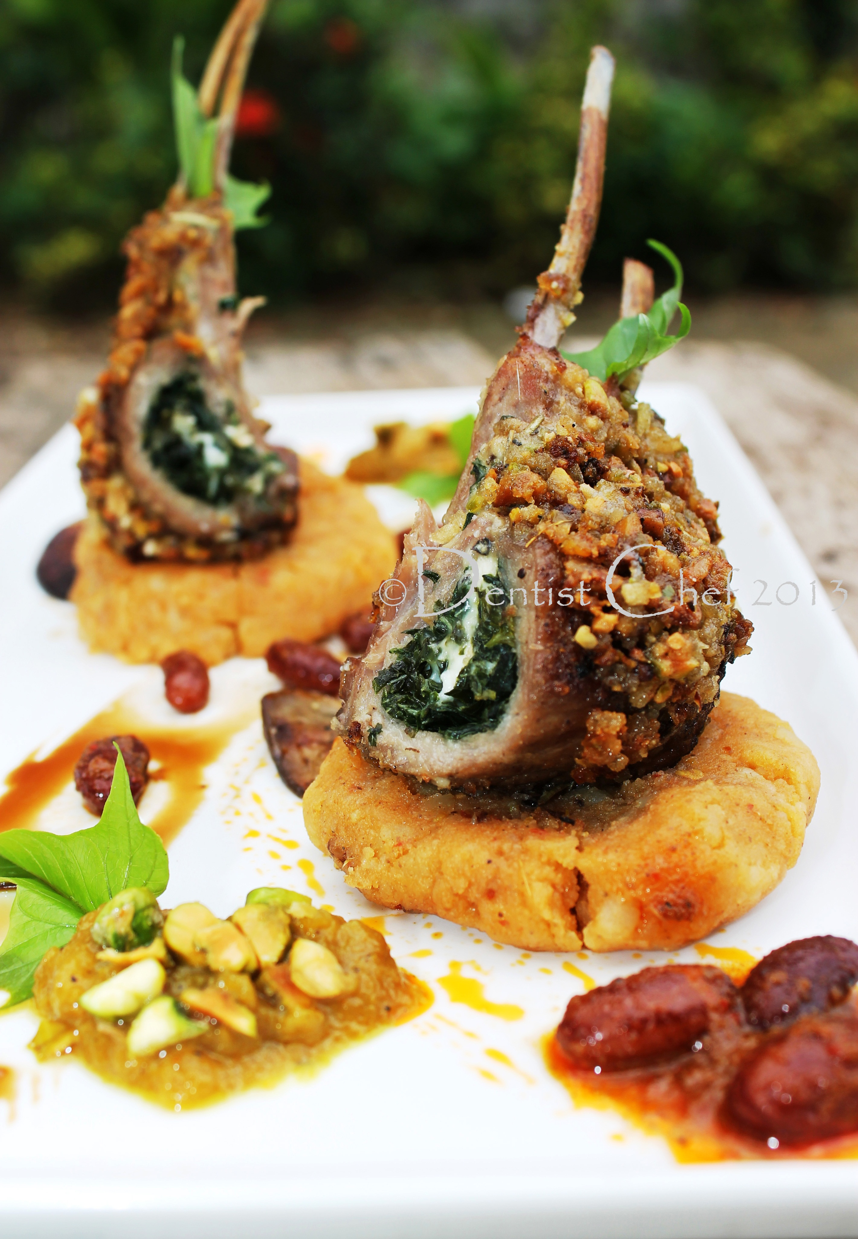 Pistachio Crusted Lamb Chop Rack With Feta Cheese
