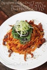 sun dried tomato pesto spaghetti pasta recipe pesto roasted pepper