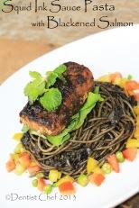 squid ink sauce spaghetti pasta with blackened salmon pan fried