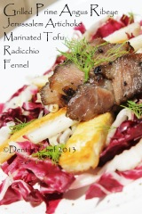 grilled angus beef rib eye recipe salad radicchio artichike root fennel