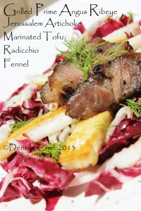 grilled angus beef rib eye recipe salad radicchio artichike root fennel