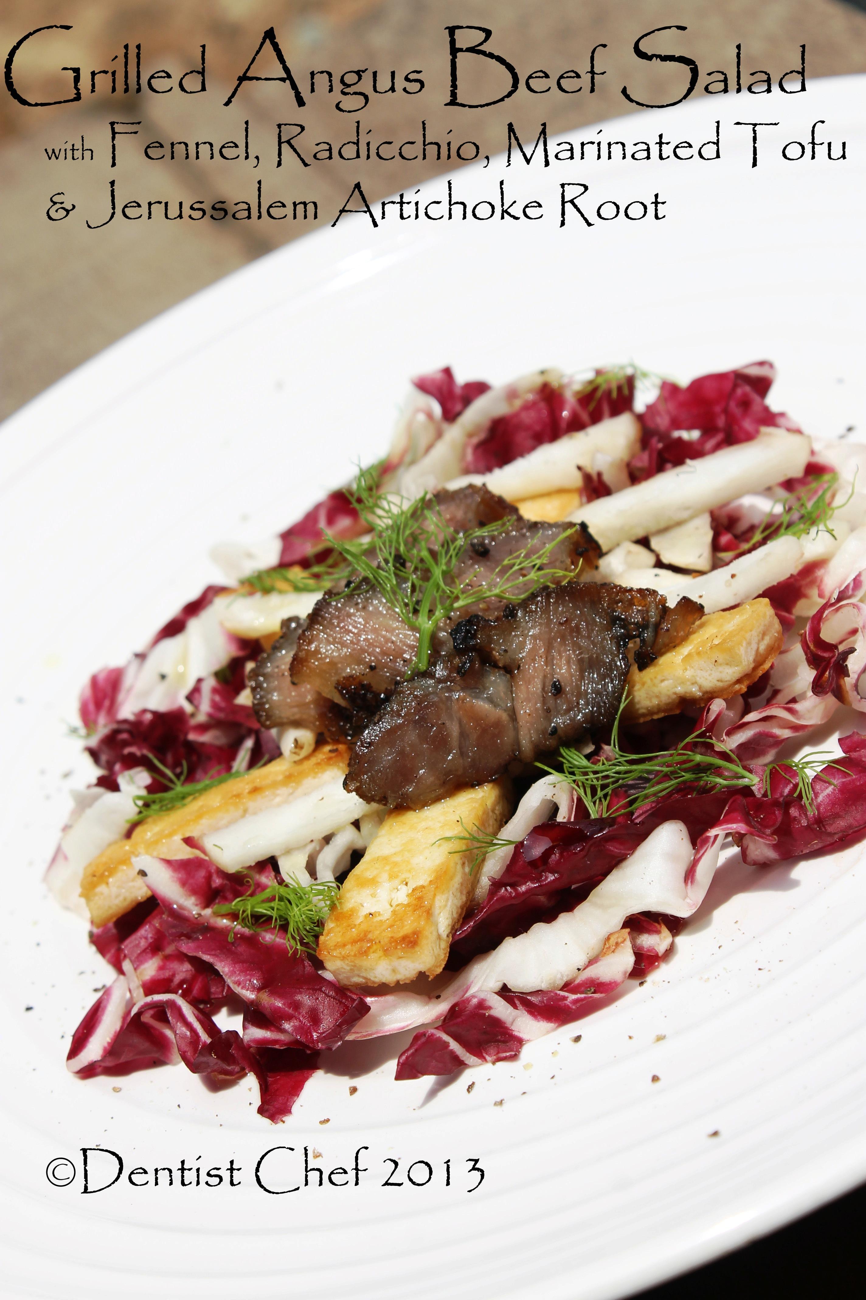 Grilled Angus Ribeye Steak with Jerussalem Artichoke, Radicchio, Tofu ...