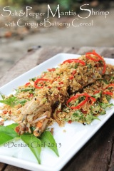 Salt and Pepper Mantis Shrimp with Crispy & Buttery Cereal or Oats