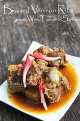 braised venison ribs wine tomato saffron recipe