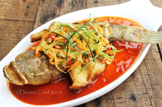 deep fried soon hock fish spicy chilli sauce vietnamese marble goby