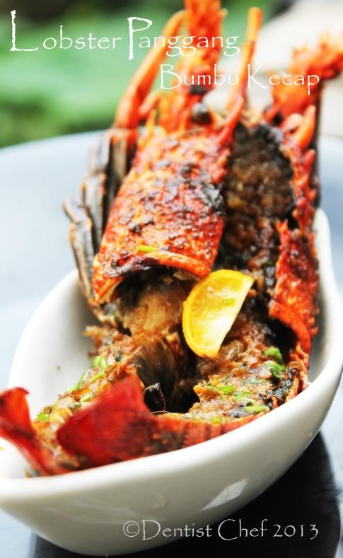 resep lobster panggang bumbu kecap, jahe, bawang