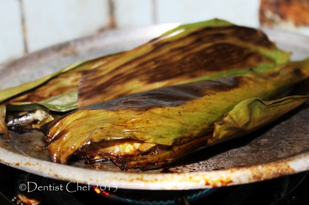 banana leaves grill fish recipe sanma pacific saury