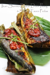 grill fish in banana leaf recipe sanma japanese pike mackarel fish