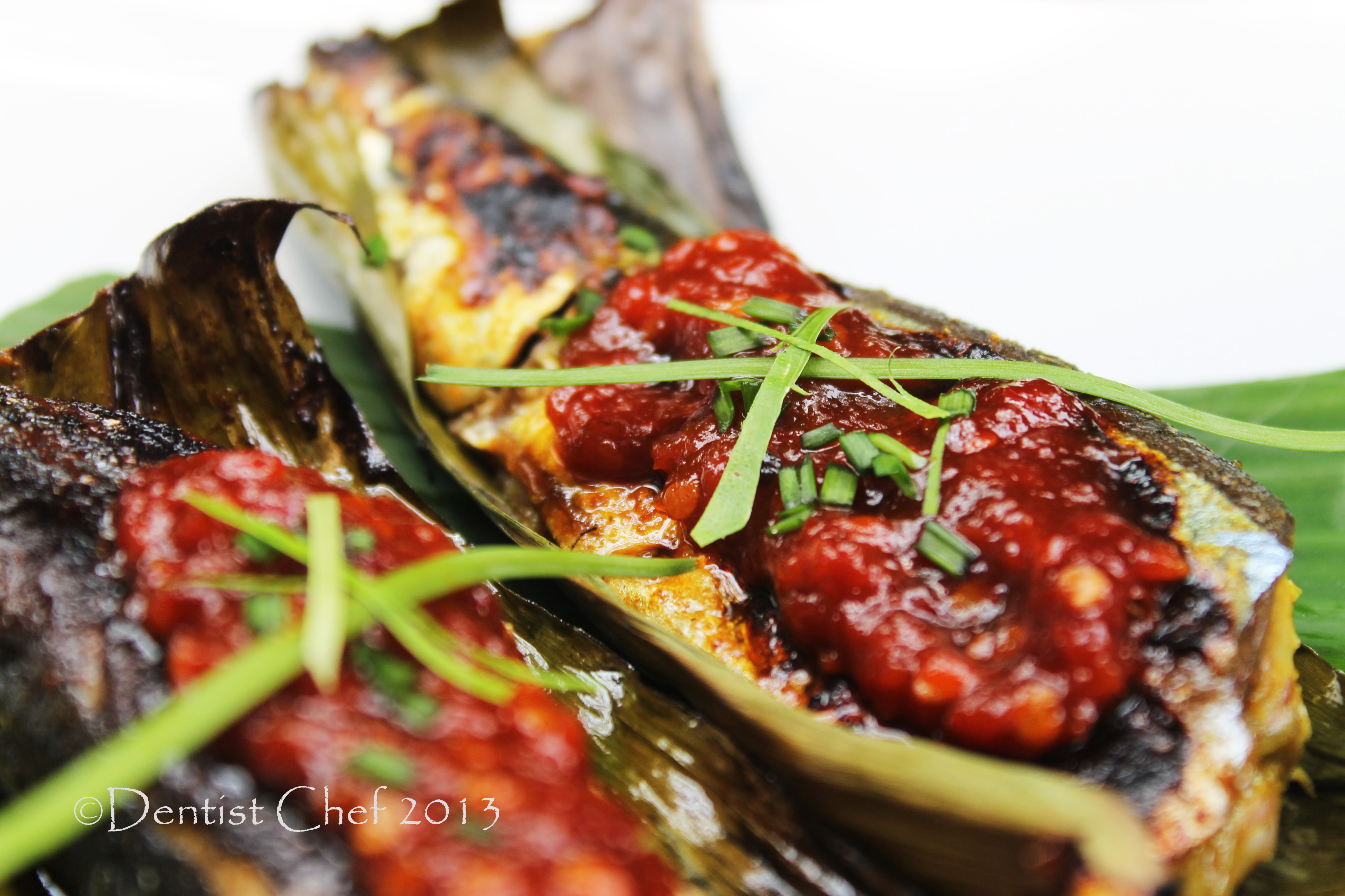 ... Sanma Fish in Banana Leaf with Spicy Miso and Chilli Sauce Recipe
