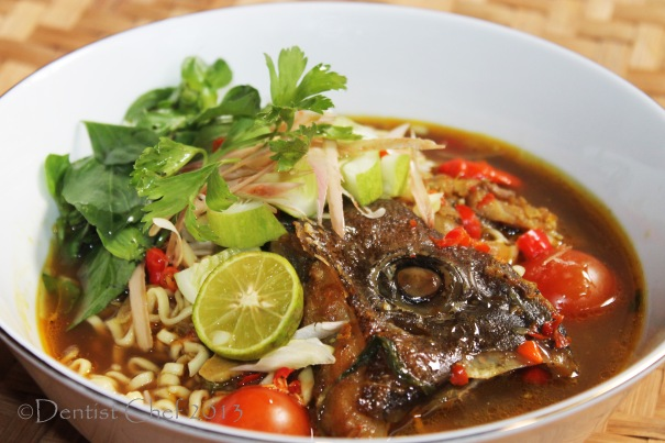 laksa asam fish head spicy noodle soup