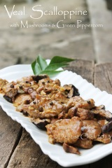recipe veal scalloppine mushrooms wine cream sauce green peppercorn