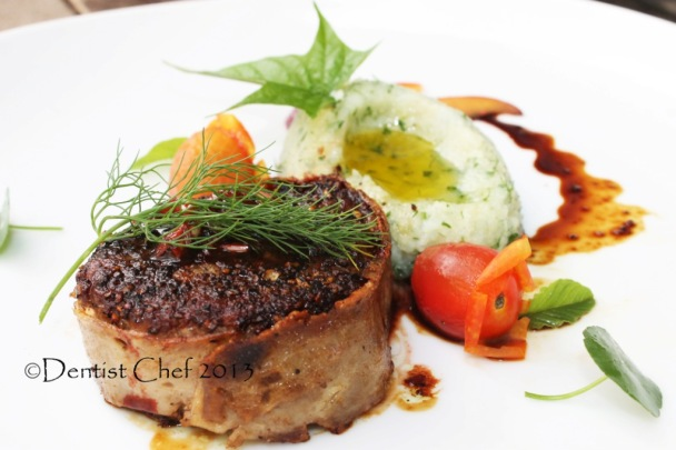 Filet mignon recipe with wagyu tenderloin truffle mashed for American cuisine presentation