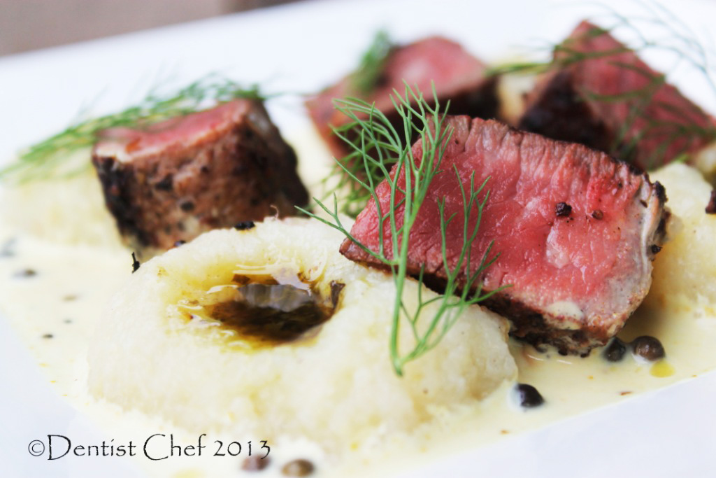 Wagyu Ribeye Steak with Creamy Green Peppercorn Sauce, Mashed Potato ...