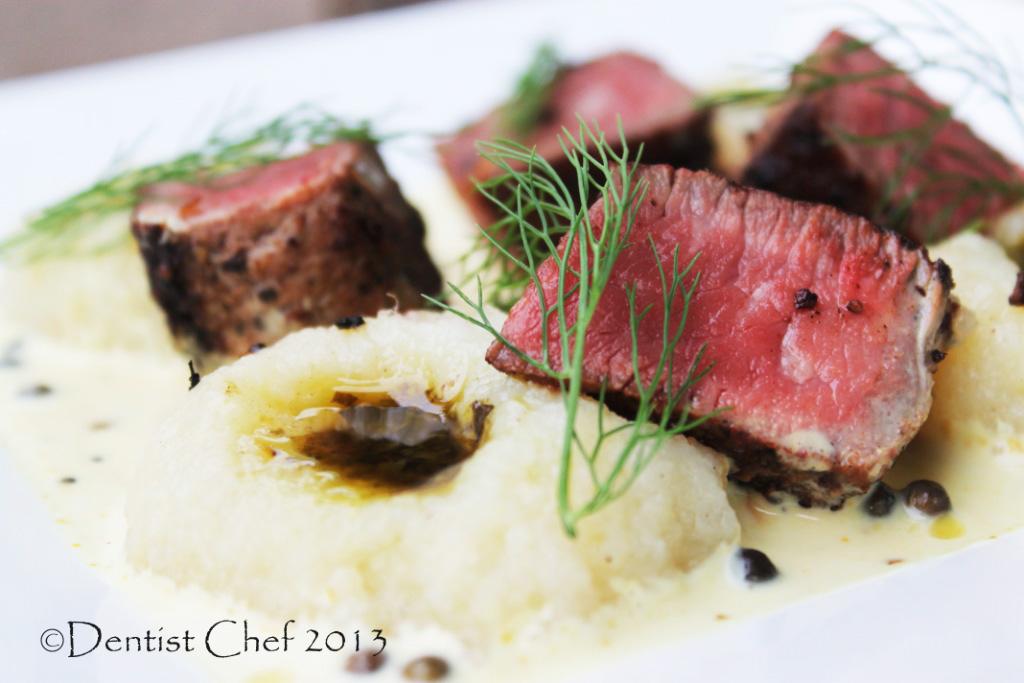 ribeye steak pink peppercorn crusted steak | DENTIST CHEF