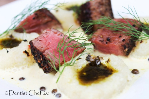 recipe ribeye wagyu steak pink peppercorn mashed potato green chilli oil
