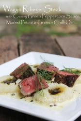 recipe wagyu ribeye steak green peppercorn cream sauce